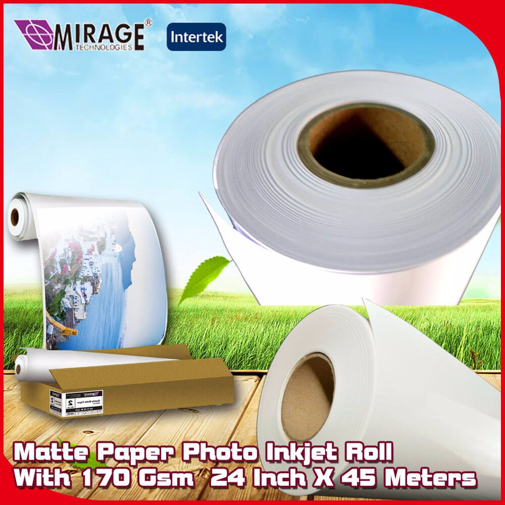170Gsm 24Inch X 45Meters Inkjet Roll Matte Photo Paper