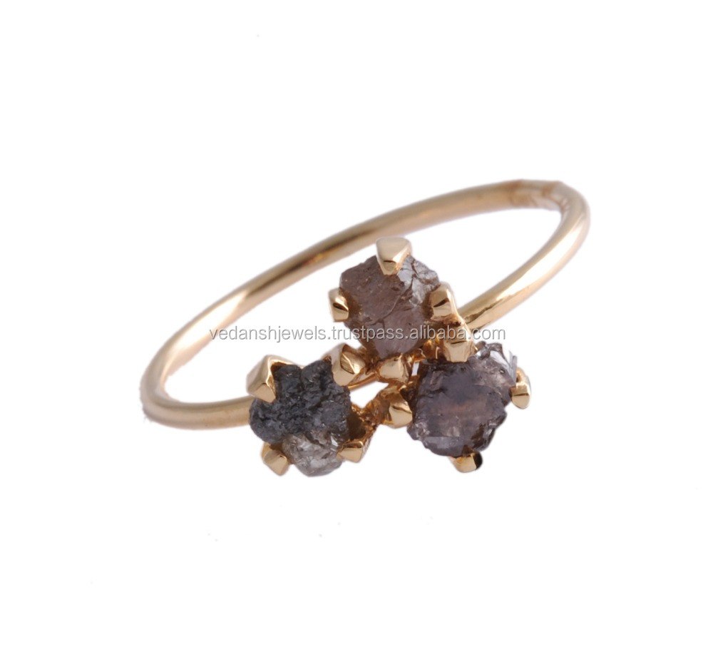 14k Gold Ring Rough Stone Black Diamond Ring India Gold Jewelry Prong Setting Black Diamond Ring