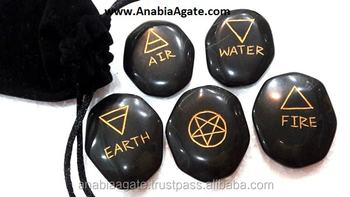 Jasper 5 element Set fine carved : Wholesale reiki sets : Pagan wiccan set With Pouch