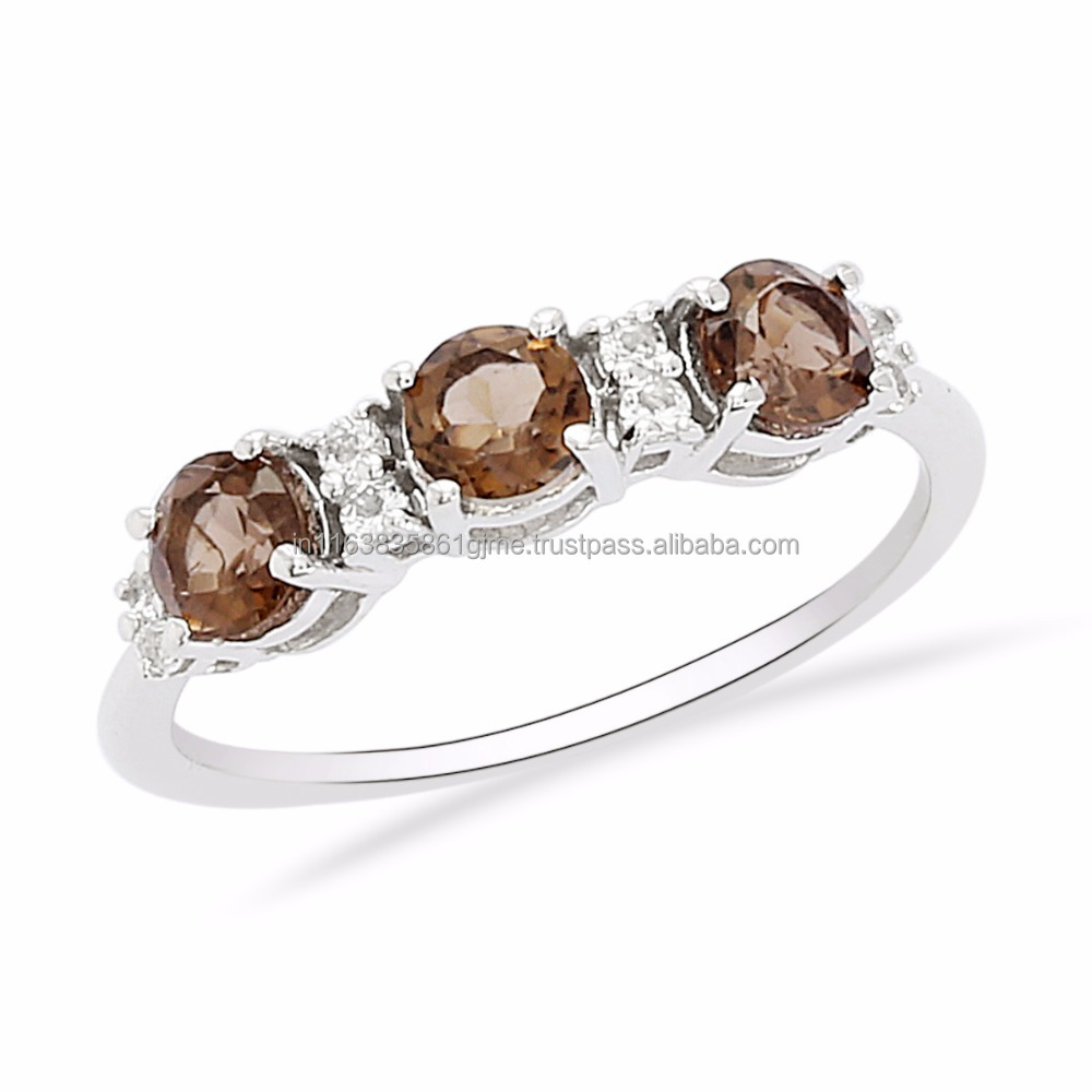 Wholesale Price Jewelry Real Smoky Quartz & White Topaz Stone Solid 925 Sterling Silver Engagement Ring, Shine Jewel SHRI0170