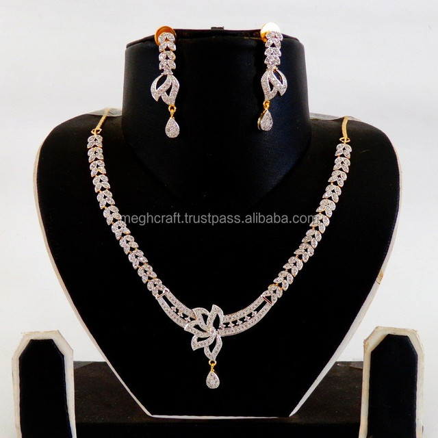 Designer American Diamond jewellery-Indian Fashion wear American diamond Jewelry-Wholesale CZ necklace set-Party wear Jewelry