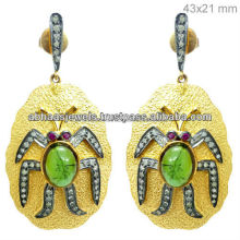 925 Silver Diamond Gemstone Bug Shaped Design 14k Yellow Gold Dangle Earrings For Women's