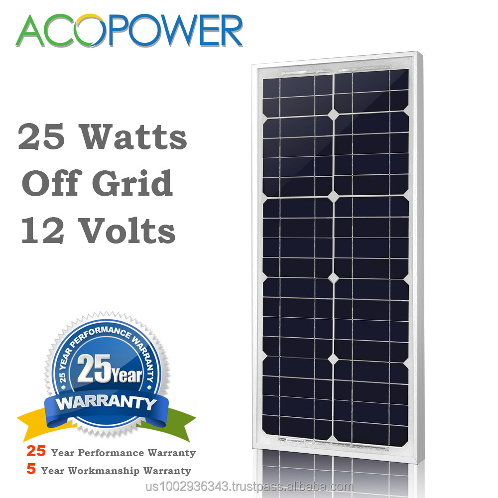 ACOPOWER 25w Monocrystalline Photovoltaic PV Solar Panel Module with MC4 Connectors 12v Battery Charging
