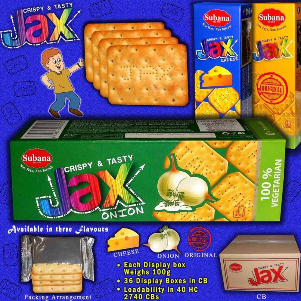 Jax Cream Crackers / Cheese/ Onion/ Original flavored Cream Cracker Biscuits