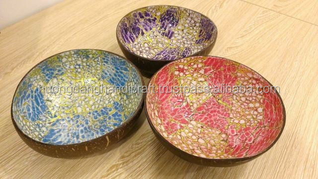 Beautiful Coconut bowl - 3 Color- Red- Blue- Purple_Made in VietNam