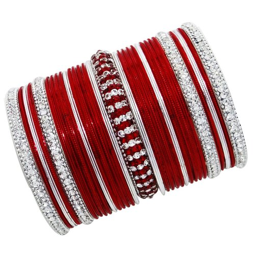 Silver Tone Red Metal Bangle Set Traditional CZ Jewelry Indian Bracelet Wedding Bridal Fashion Ethnic Churi Gift-BSB865