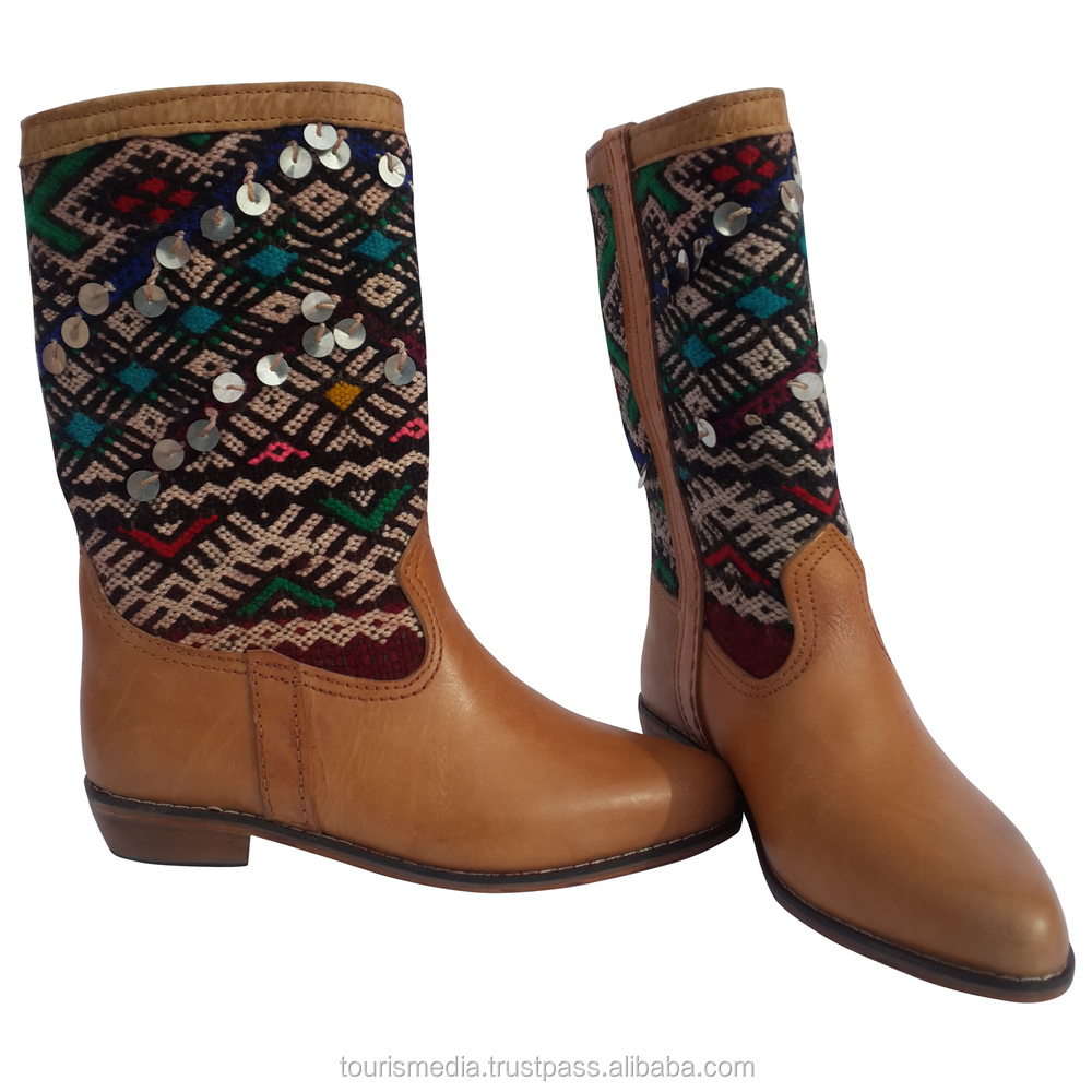 Handmade Moroccan Kilim Boot Size 38 Wholesale Lx301