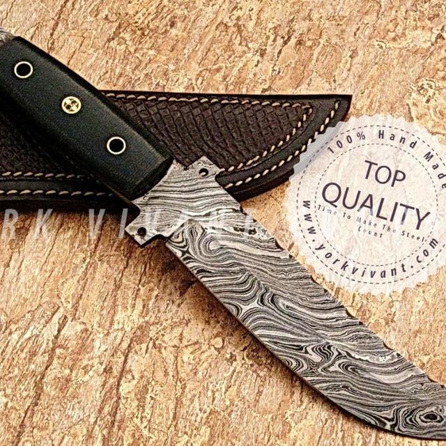 York Vivant-Custom Handmade Damascus Steel Tracker Hunting Knife Yvthk-02A Full Tang + Micarta + Mosaic Pin Handle