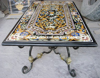 Black Marble Inlay Pietra Dura Dining Table With Iron Table Stand