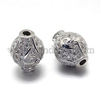 CZ Brass Micro Pave Cubic Zirconia Vase Beads, Lead Free & Cadmium Free, Platinum, 13x10mm, Hole: 1mm ZIRC-O001-70-RS