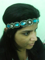 Sky blue bead centralized look with antique silver border Headband Hairband