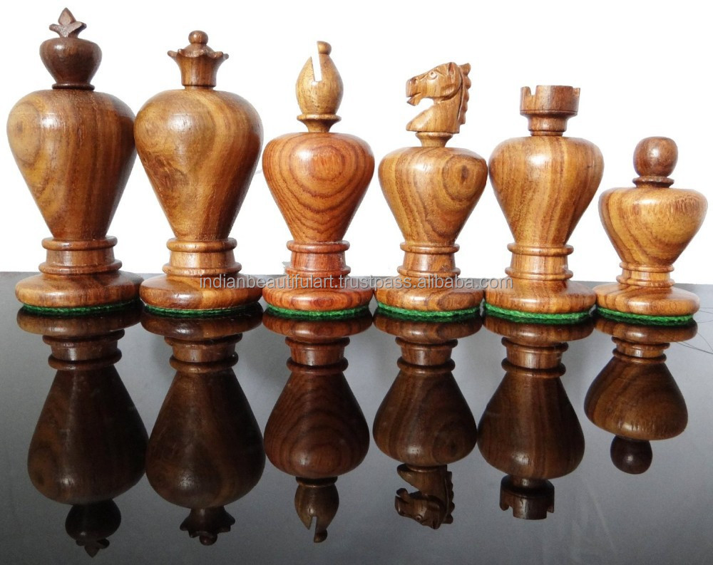 Weighted Staunton Chess Set 32 Chessmen Wooden Chess Board Game 3.3 Inches King