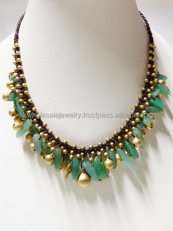 0151 THAILAND Handmade JEWELRY set Artisan Brass Woven BOHO Fashion Necklace Turquoise Agate Stone Pearl Shell SUMMER