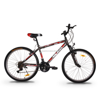 "ASOGO 26"" MTB Bike Mountain Bicycle 18 Speed Matte Brown with Red"