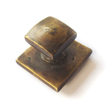 Brass Drawer Knobs - Square Knob with Lg Backplate 1-1/4""