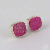 Pure Beauty !! Titanium Druzy 925 Sterling Silver Studs Earring, 2016 Fashion Silver Jewellery, All Over World Shipping