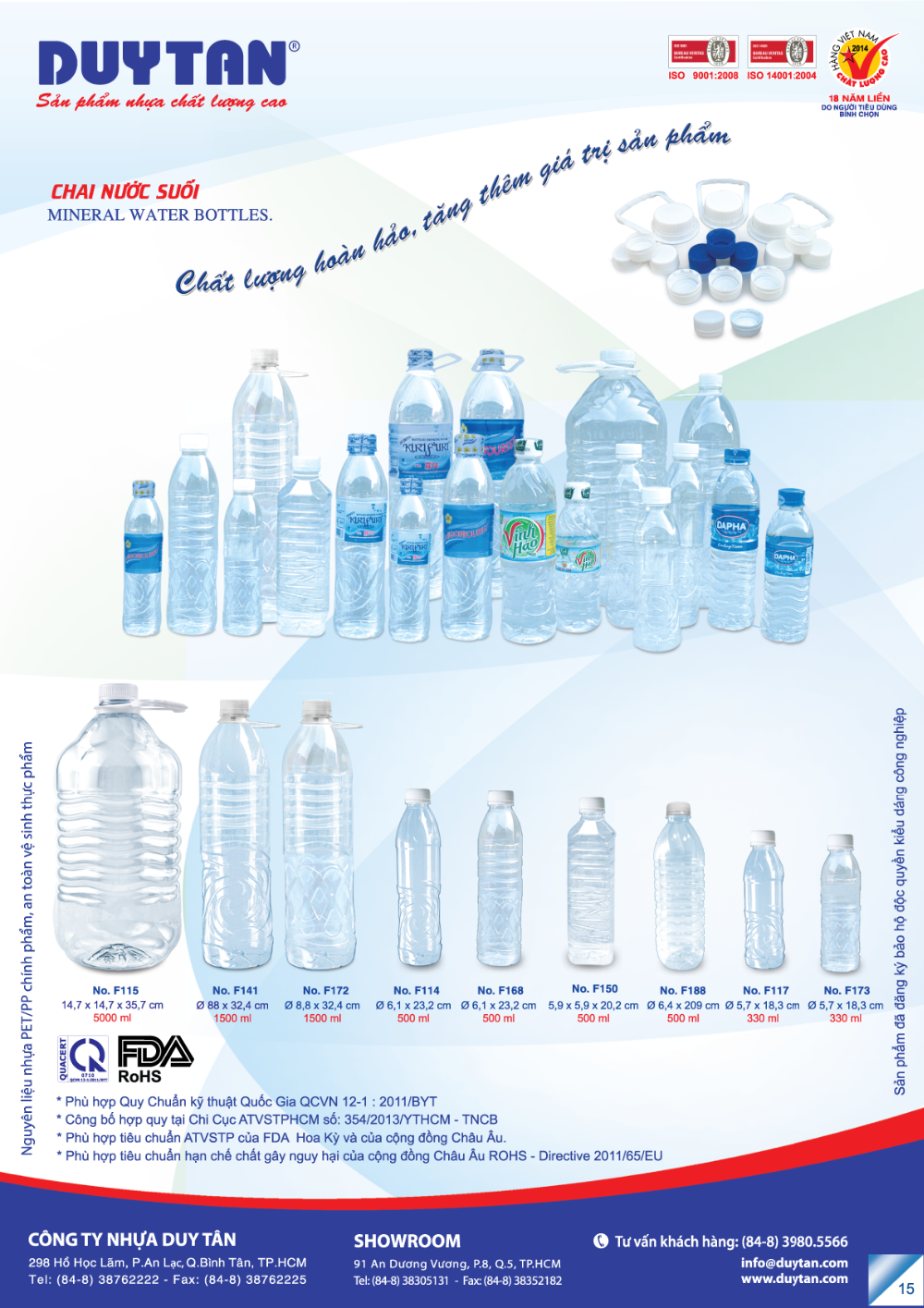 BEST SALE 2016 water bottle 5 gallon 330ml 500ml 5L - PET PP with lid and cap-huynhthithanhthao@duytan.com