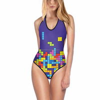 High quality polyester open sexy hot bikini girls one piece Sublimated swimming suit