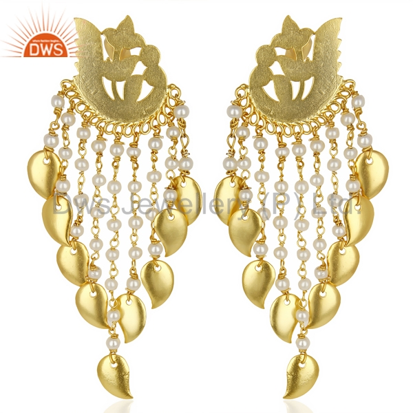 Traditional South Indian Designer Earrings Natural Pearl Gemstone Chandelier Earrings Manufacturers of Fashion Jewelry