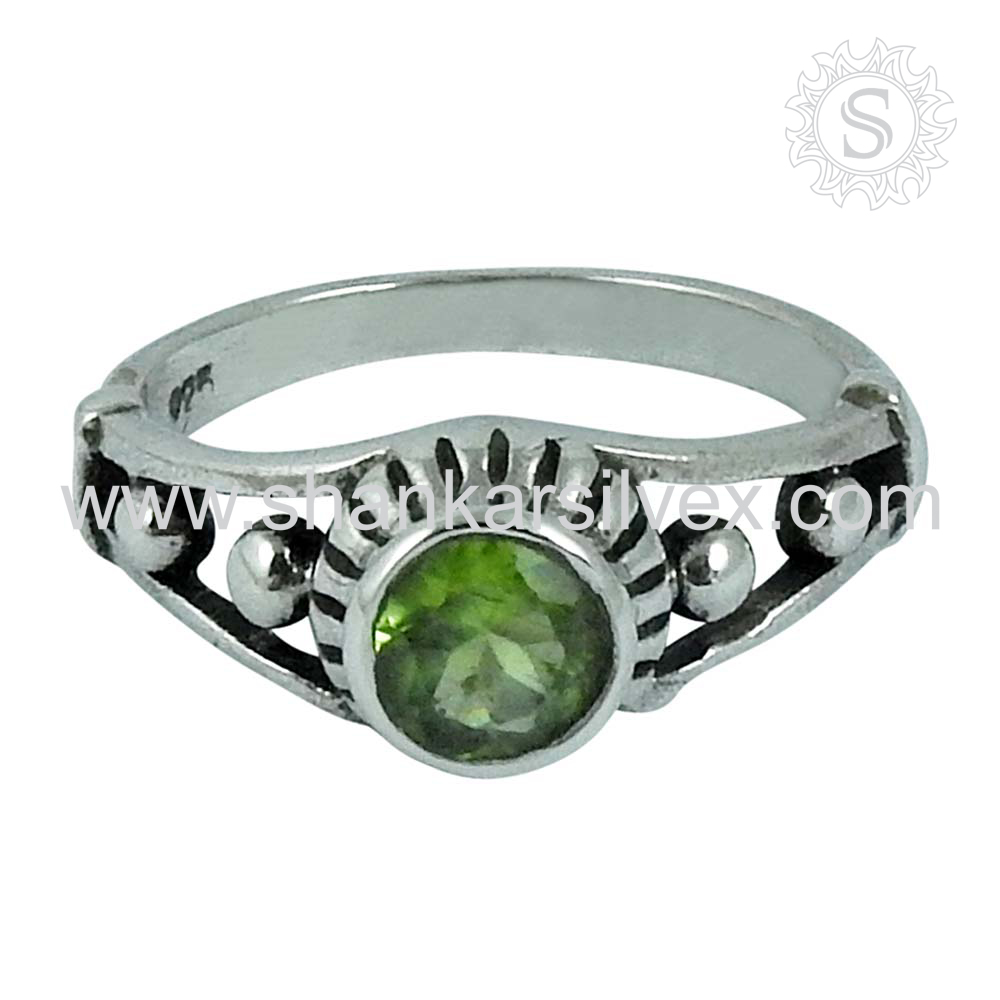 New List Hot Product Green Peridot Ring Supplier 925 Silver Jewelry Wholesale Handmade Silver Jewelry India