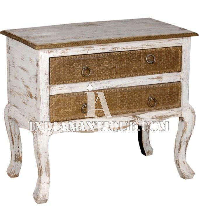 INDIAN FURNITURE ANTIQUE DISTRESSED FINISH BED SET CABINET OR END TABLE IA-DIS-110