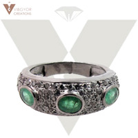 Best New Design Emerald Gemstone Handmade Ring Wholesale Emerald Ring 925 Sterling Silver Ring Jewellry
