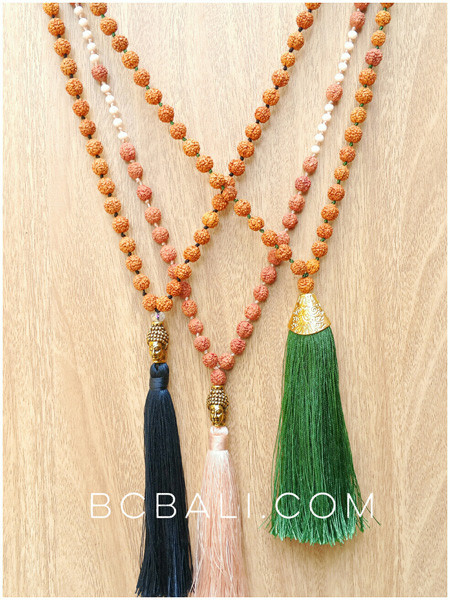 tassels necklaces wood mala rudraksha meditation model handmade jewelry