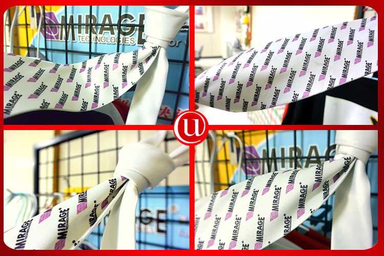 Business Logo Unique Sublimation White Silk Tie