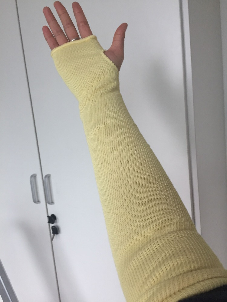 Protective knitted cut-resistant gloves Kevlar Anti-cut arm sleeve with finger hole yellow rescue high risk ANSI/ISEA