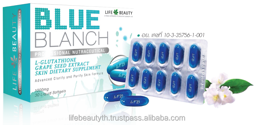 Life Beauty Blue Blanch Professional Nutraceutical L-Glutathione Grape Seed Extract Supplement