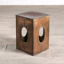 Industrial Cube Iron Riveted Copper Finish Side Table