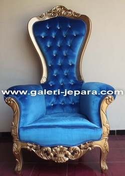 French Baroque High Back Throne Chair Mahogany Wood