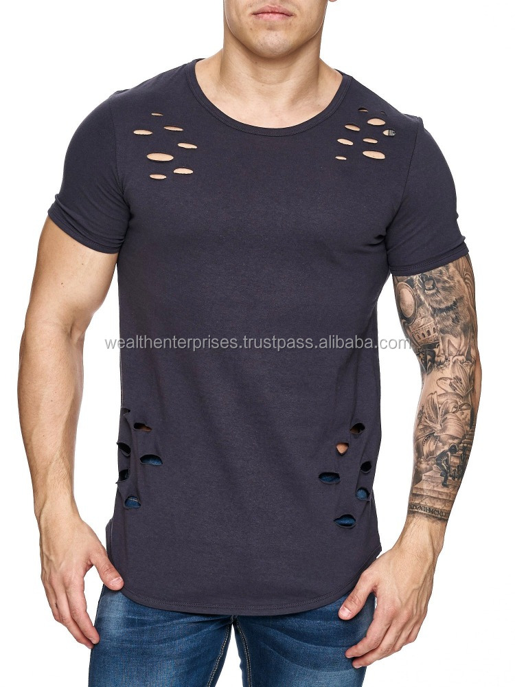 Wholesale price men's ripped holes t-shirts/Custom men's ripped holes t-shirts
