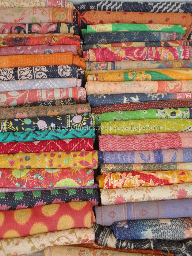 Quality Vintage Fine Hand Stitching Kantha quilt Indian Reversible Quilts Pure Cotton Kantha Quilt / Blanket / Throw Bedspread