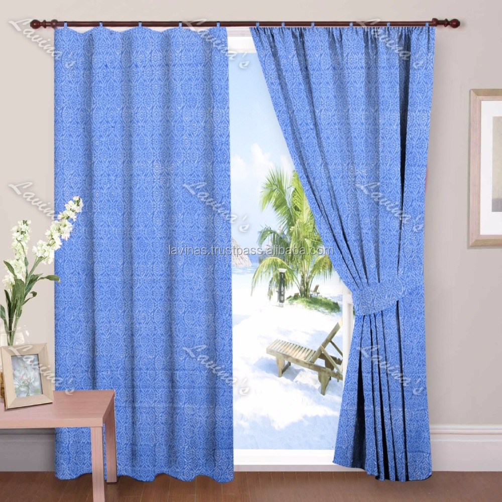 Block Printed Cotton Curtain Window Curtain manufacturer