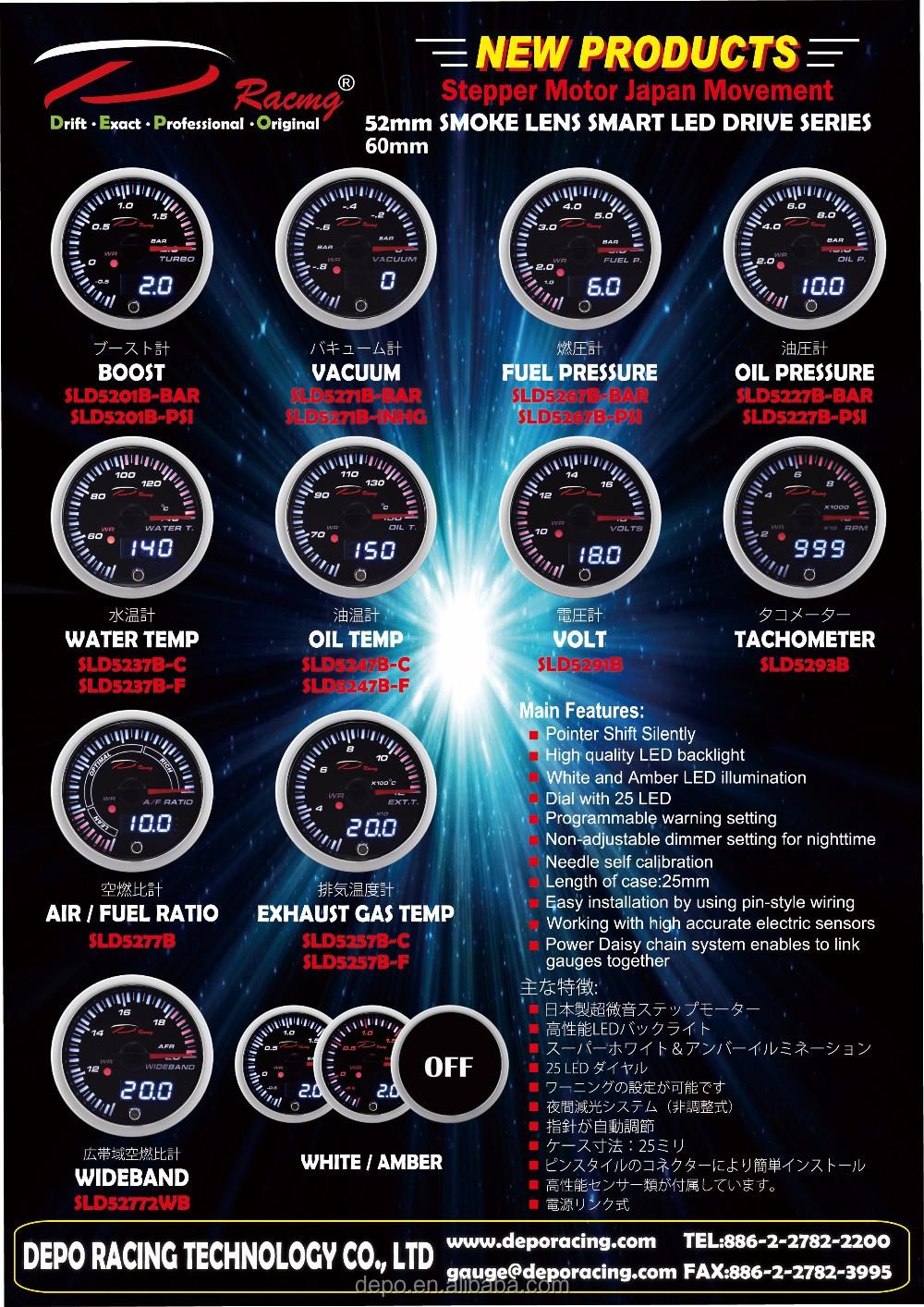 52mm Air / Fuel Ratio SLD Series Stepper Motor Auto Racing Gauge ...