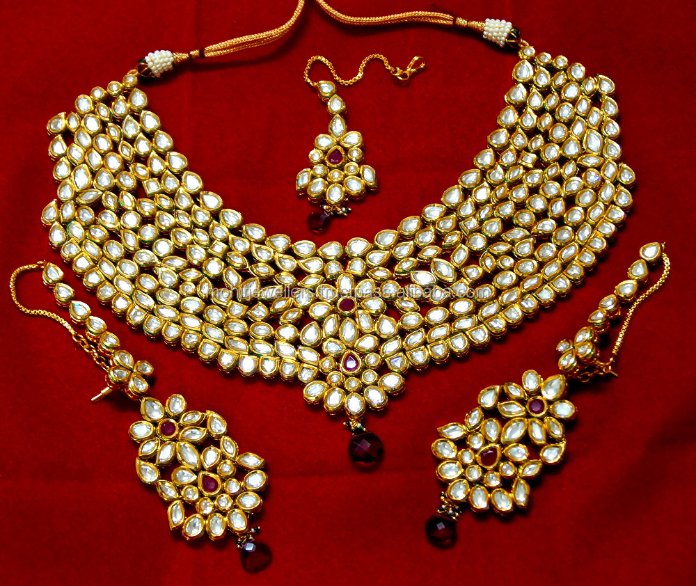 Exclusive royal look traditional 1 gram gold wedding parpose kundan necklace set and wholesale price