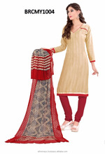Beige and red colored casul wear salwar suits