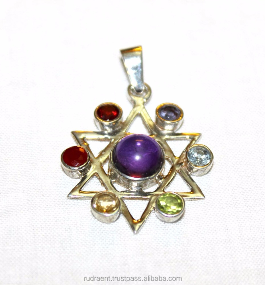 7 Chakra Gemstone 925 Sterling Silver India Made Pendant