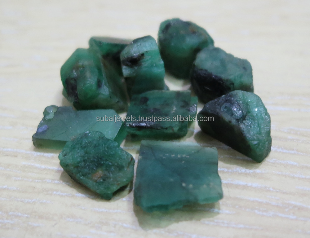Natural Emerald Gemstone Rough 10-15mm Brazil Green Good Quality
