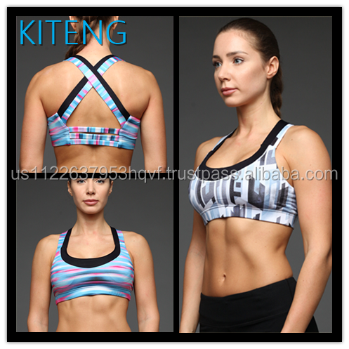 Hot girl abstract printed sports bra with crisscross straps on the back yoga fitness sports bra office In Unite State (USA)