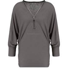 costume design ladies zip up grey cotton long sleeves shirts
