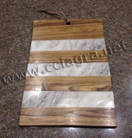 Marble & Wood Cheese Cutting Board Serving Plate Chopping Block for kitchen