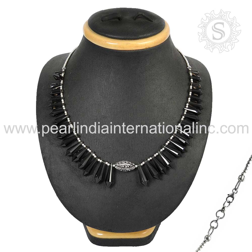 Prominent Bead Smoky Quartz Gems Necklace 925 Sterling Silver Jewelry Wholesaler Jewelry Supplier