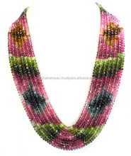 Natural Multi Tourmaline 5mm Roundell Faceted Loose Beads Necklace