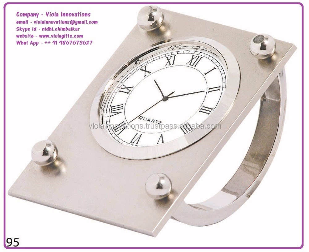 Silver plated swing clock with big dial