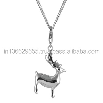 925 Sterling Silver Deer Charms With Lobster Clasp 925 Silver Jewelry From India