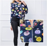 NEW Ladies Long Sleeves Zipped jacket perfume print 15312