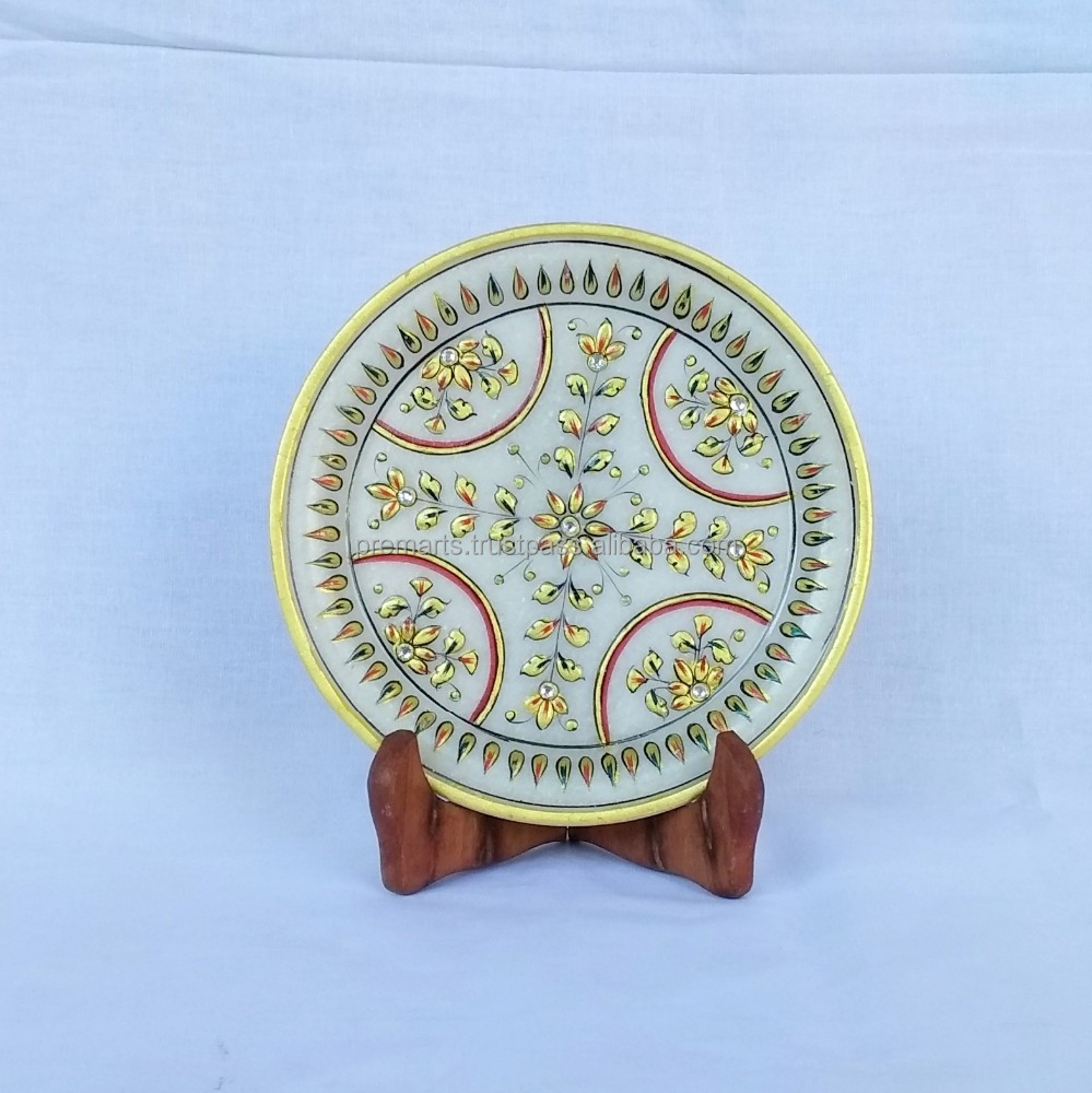 Rajasthan Kaleidoscope (Hand Painted Makrana Marble Decorative Plate with Stand)