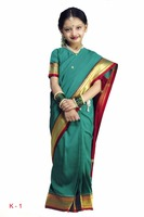 Indian Designer Traditional Party wear Kids Saree With Border And Blouse